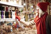 woman on christmas market