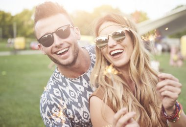 Young couple at music festival