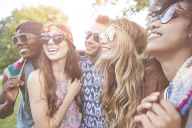 young people have fun at the music festival