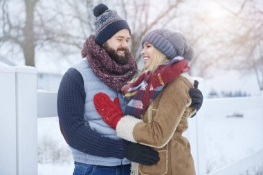 Couple in love on outdoor photo shooting