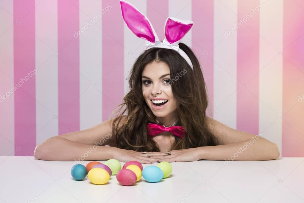 Easter female bunny with eggs