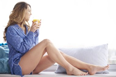 beautiful woman in pajamas