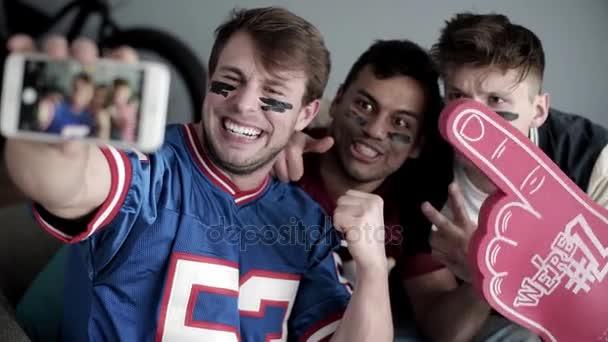 Freunden Fußball Spiel Pause Selfie Übernahme