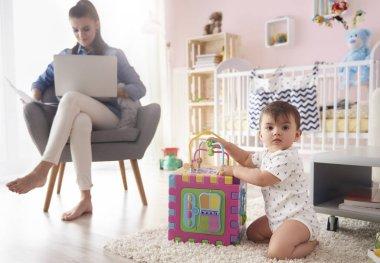 Freelancer mom with baby boy