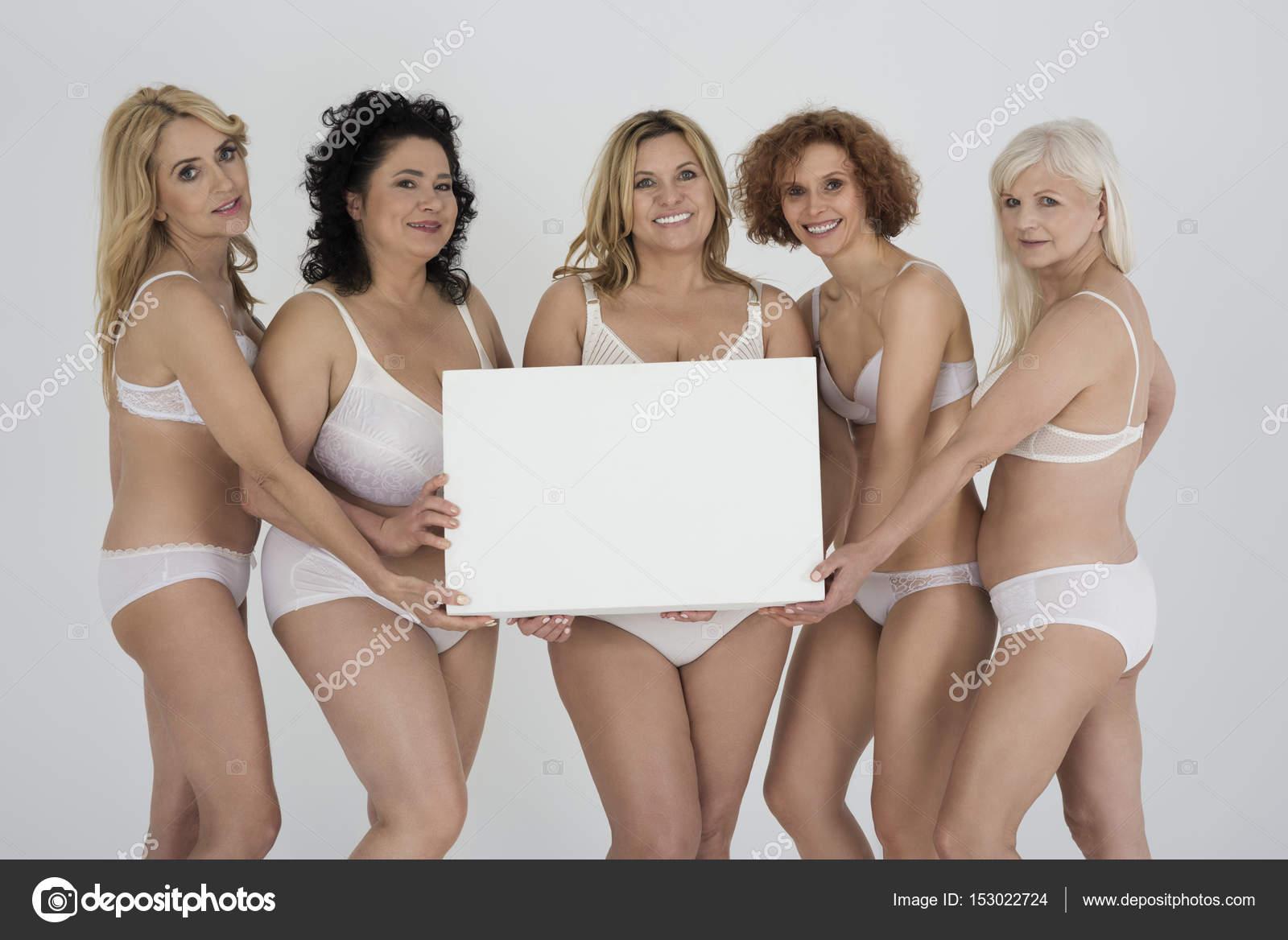five mature women in lingerie — stock photo © gpointstudio #153022724