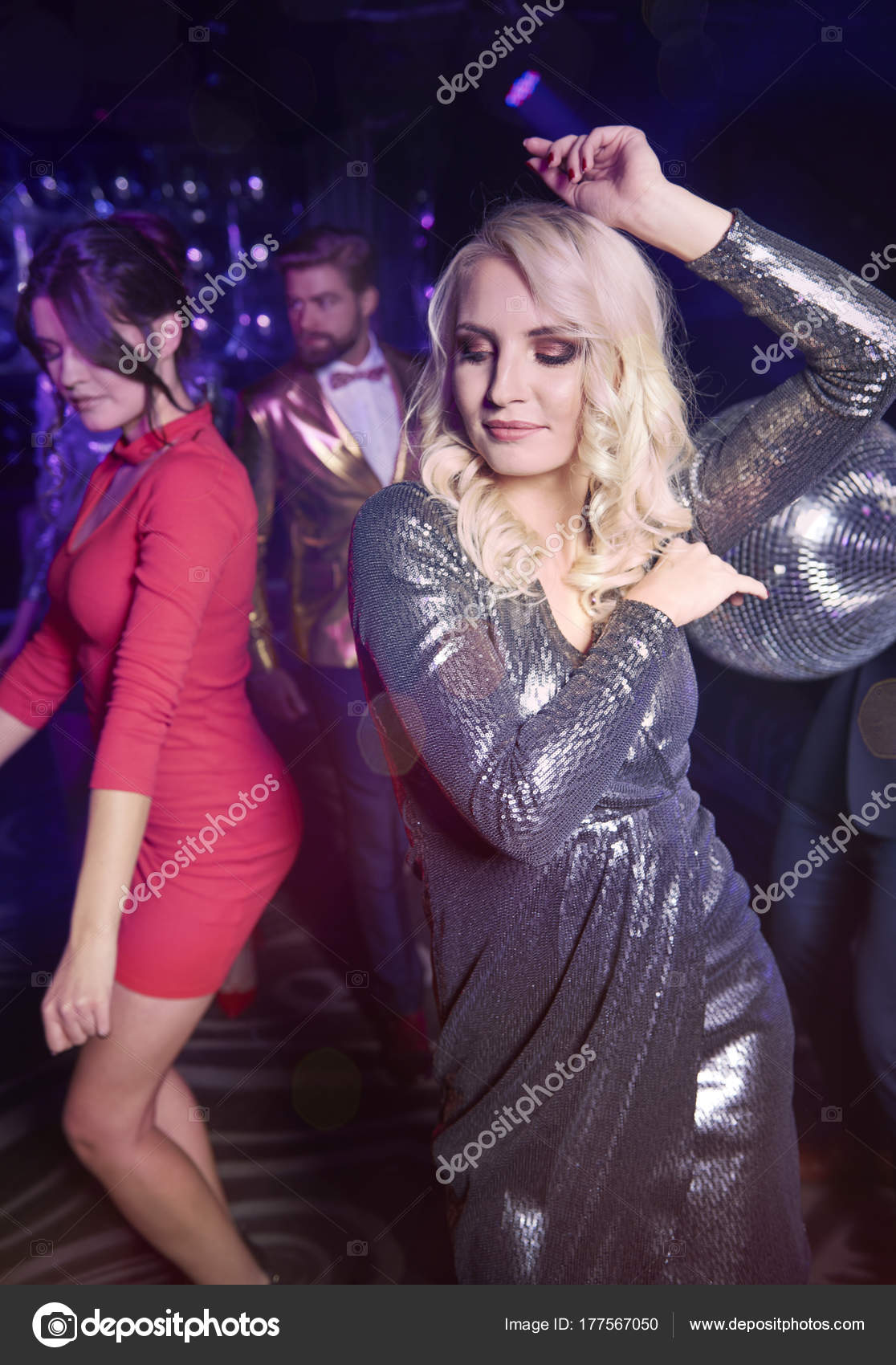 pretty women dancing night club — stock photo © gpointstudio #177567050