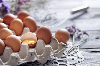 Broken egg among brown eggs in egg box stock vector