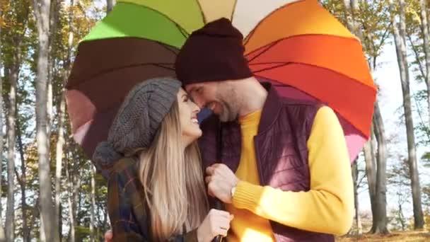 Szerető pár esernyő az erdő