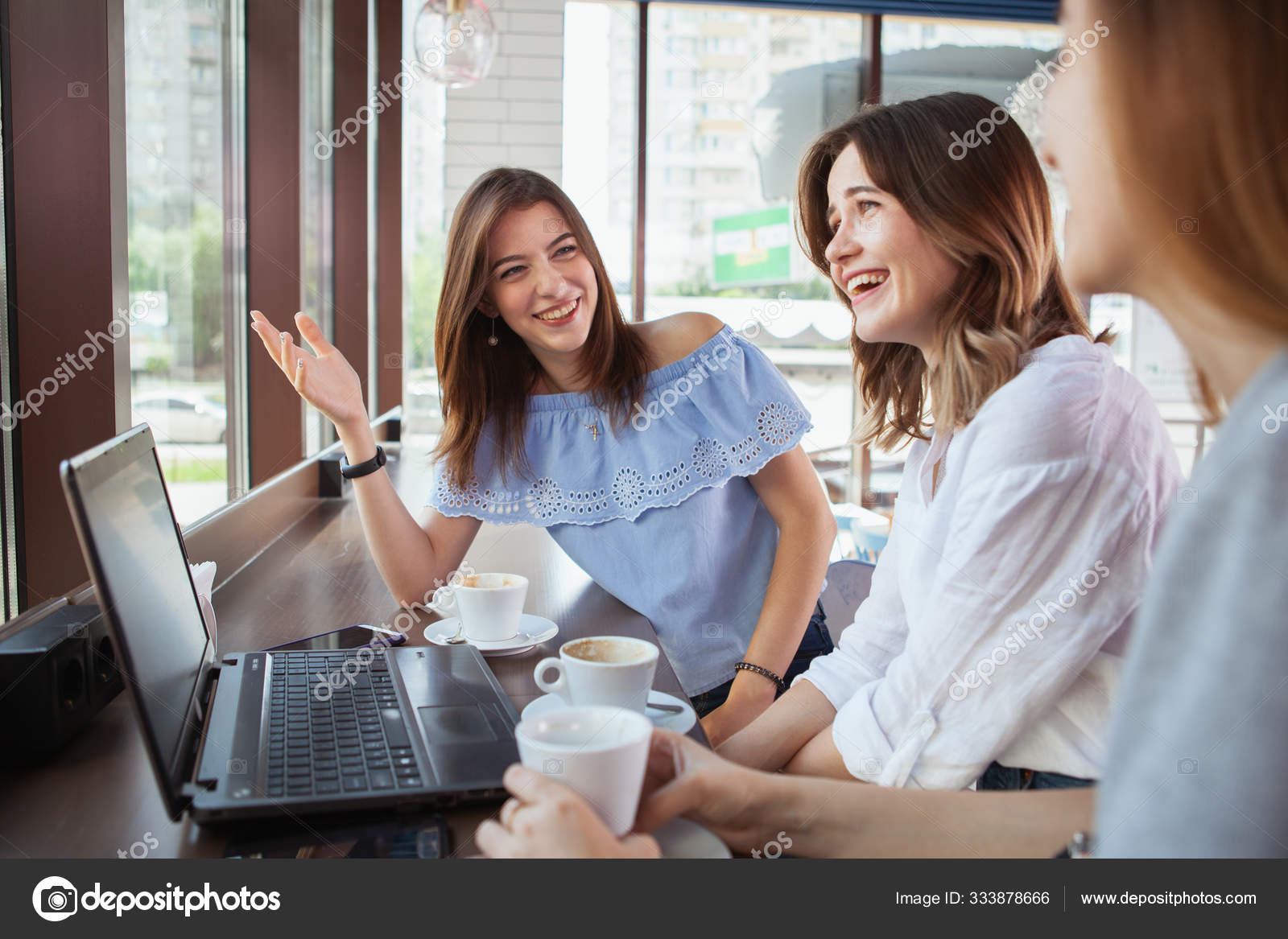 Beautiful Female Friends Enjoying Morning Coffee At The Cafe Tog Stock Photo C Bjjenzor Gmail Com 333878666