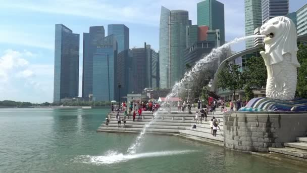 Merlion Fountain in Singapore. Slow Motion