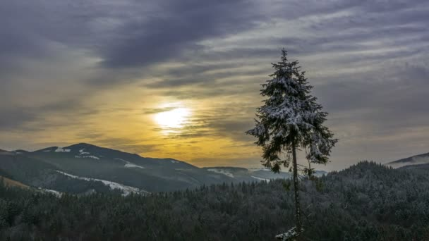 Early winter. The mountains are covered with forests. Morning with fogs and strong clouds. Time lapse