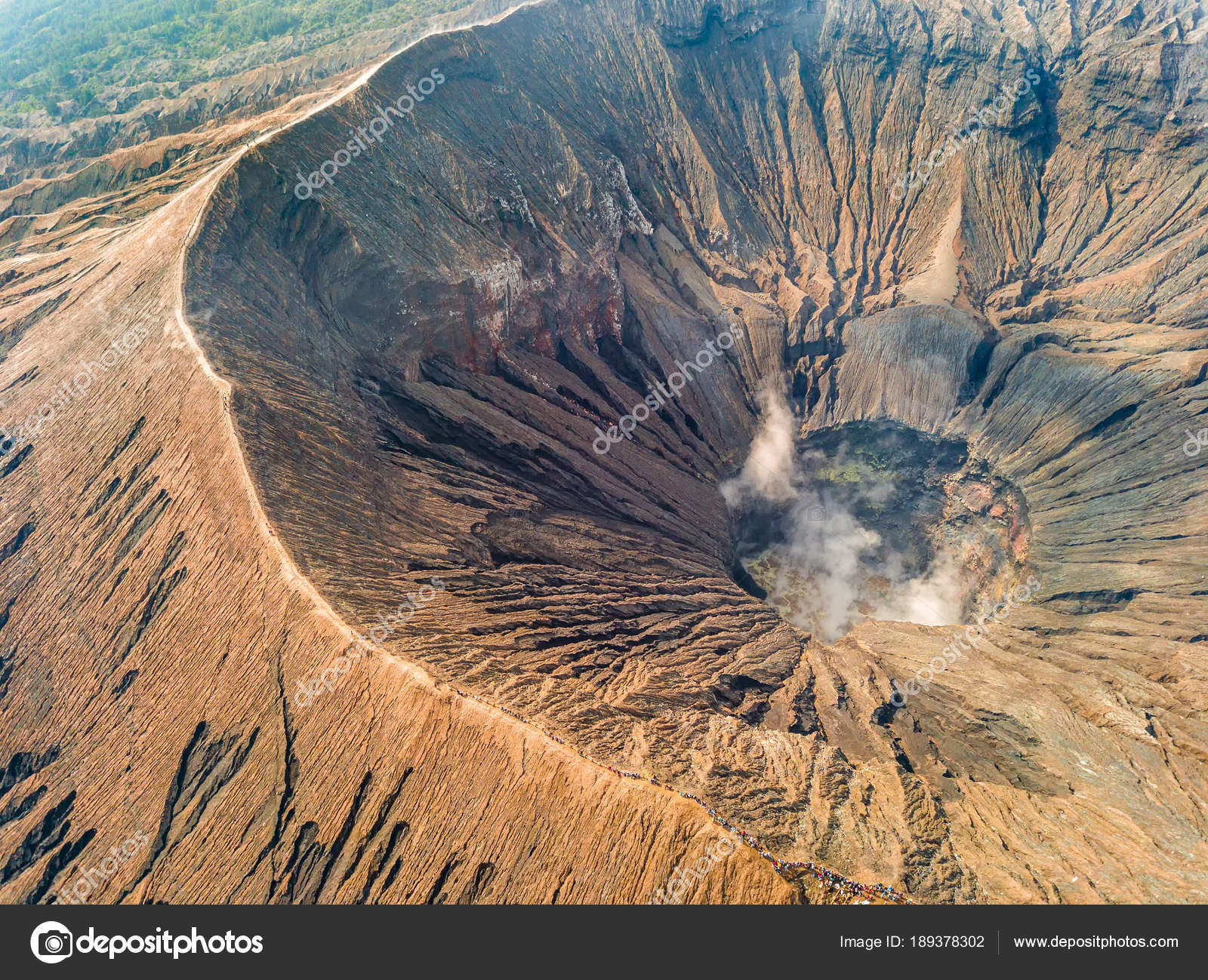 crater and caldera of an active volcano aerial view stock photo