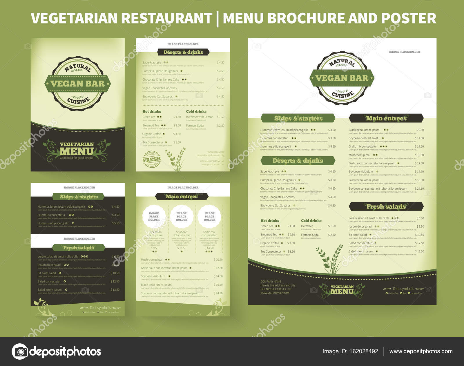 Vegetarian Restaurant Vector Brochure Template Stock Vector - Price list brochure template