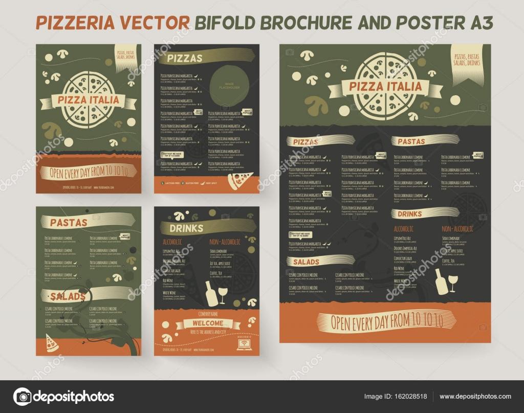Plantilla de menú de restaurante pizzeria — Vector de stock ...