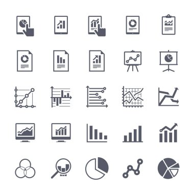 Business Graphs & Charts Icons Set 1 - Black Version