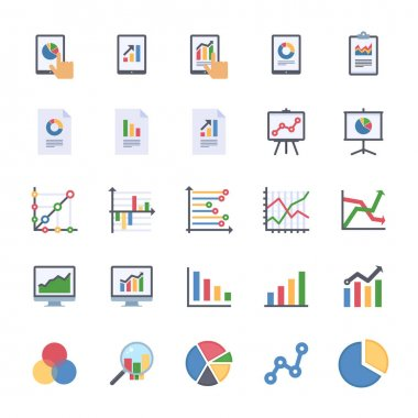 Business Graphs & Charts Icons Set 1 - Flat Version