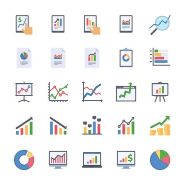 Business Graphs & Charts Icons Set 2 - Flat Version