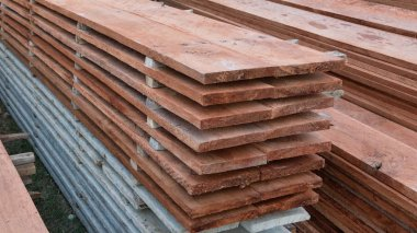 Sheets of wood will be used for house construction / house building