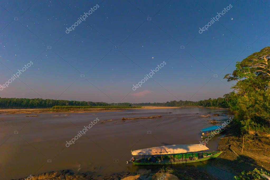 Manu National Park, Peru - August 08, 2017: Harbor of Boca Manu village in the Amazon rainforest of Manu National Park, Peru