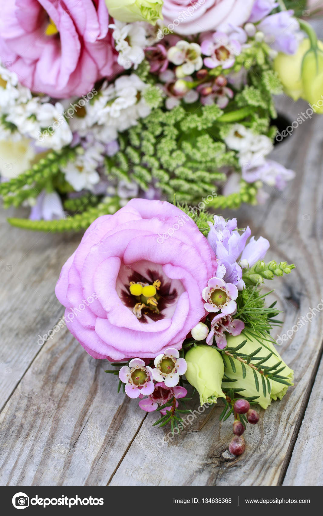 Wedding boutonniere with pink eustoma and chamelaucium flowers ...