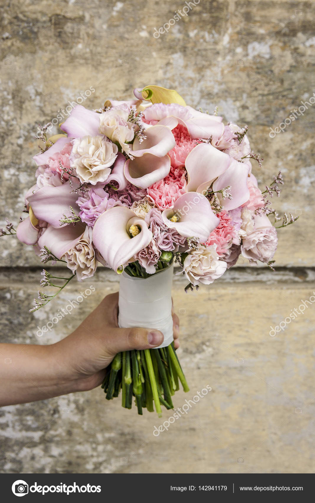 Wedding Bouquet With Carnations And Pink Calla Flowers Stock Photo