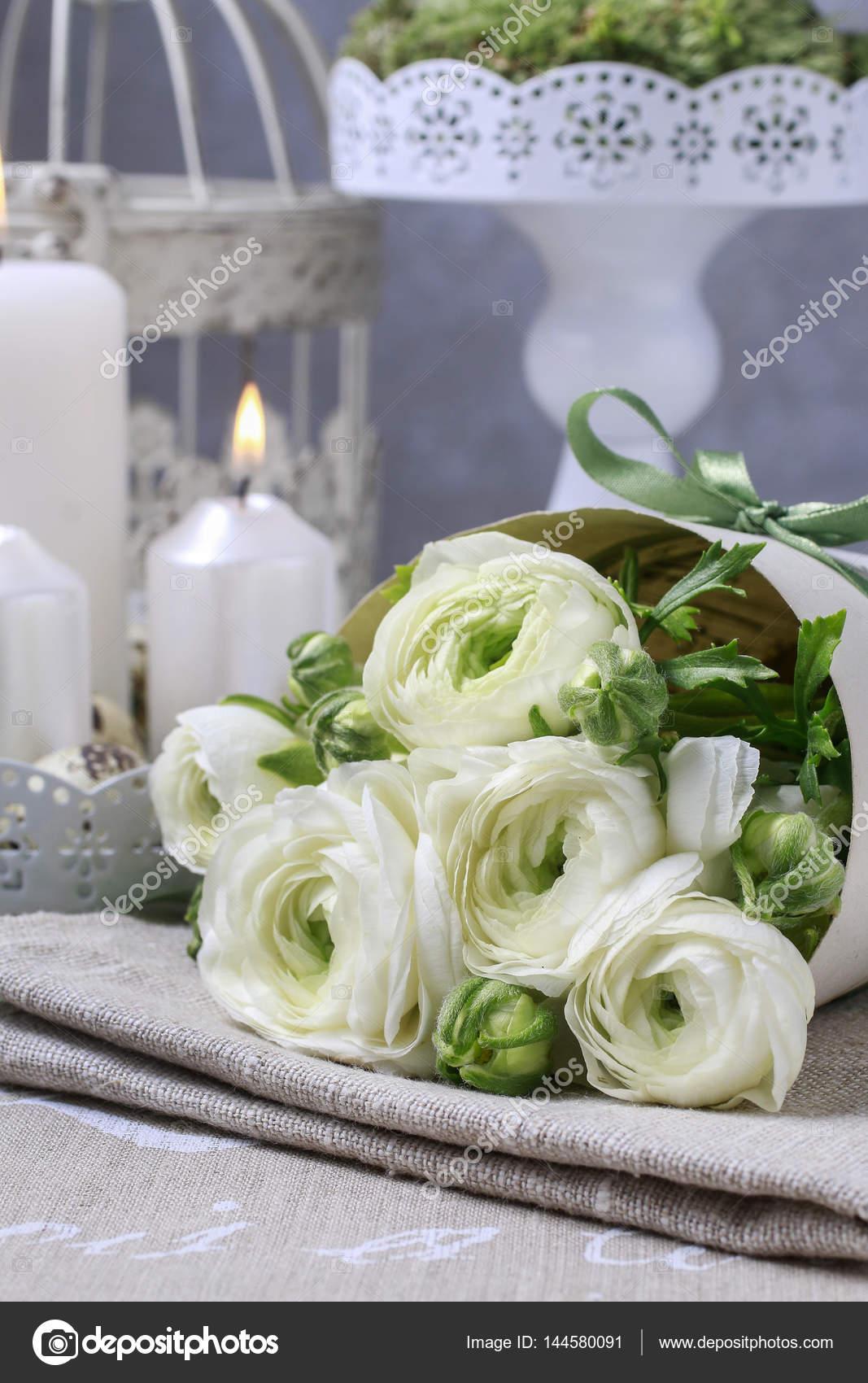 Bouquet Of White Ranunculus Flowers Stock Photo Agneskantaruk