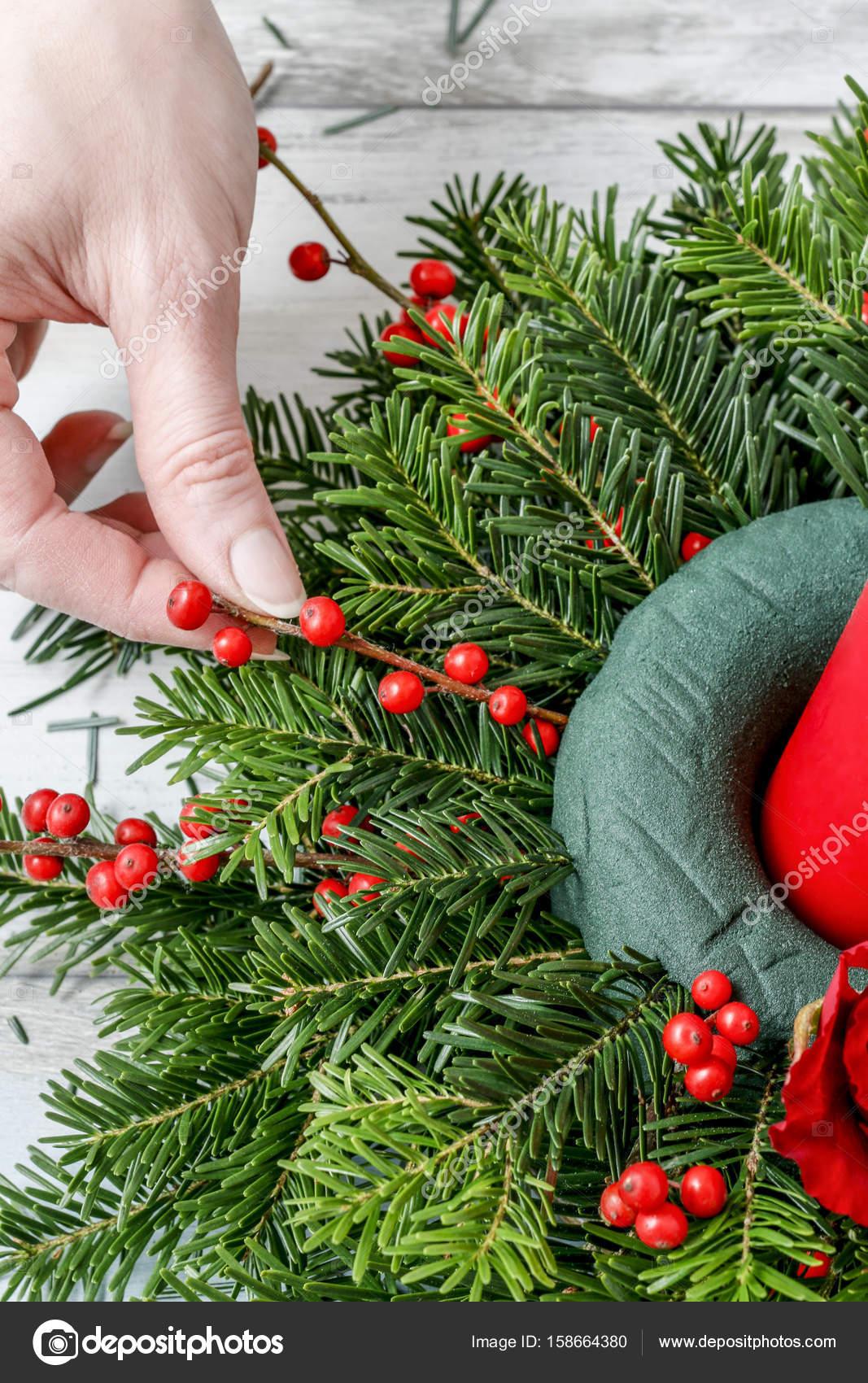 Como hacer centro de mesa Navidad con abeto rosas bolas de un