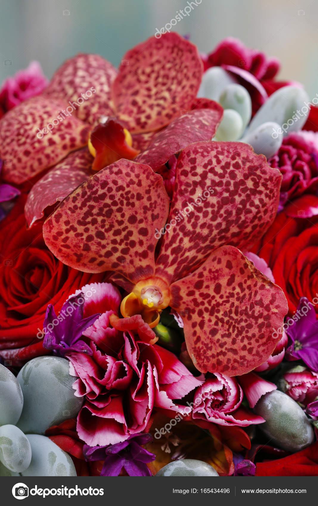 Bouquet Con Fiori Di Orchidea Rossi, Rose E Piante Grasse U2014 Foto Stock