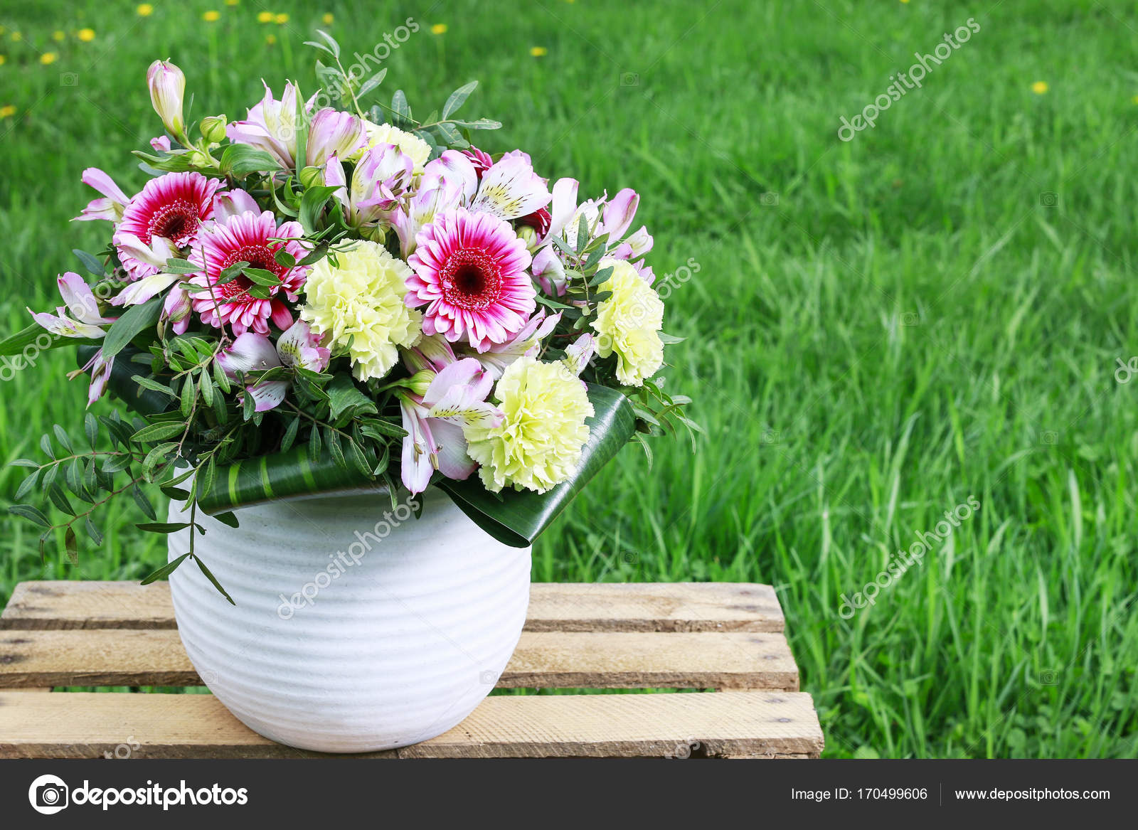 Big Flower Bouquet With Carnations And Gerberas Stock Photo