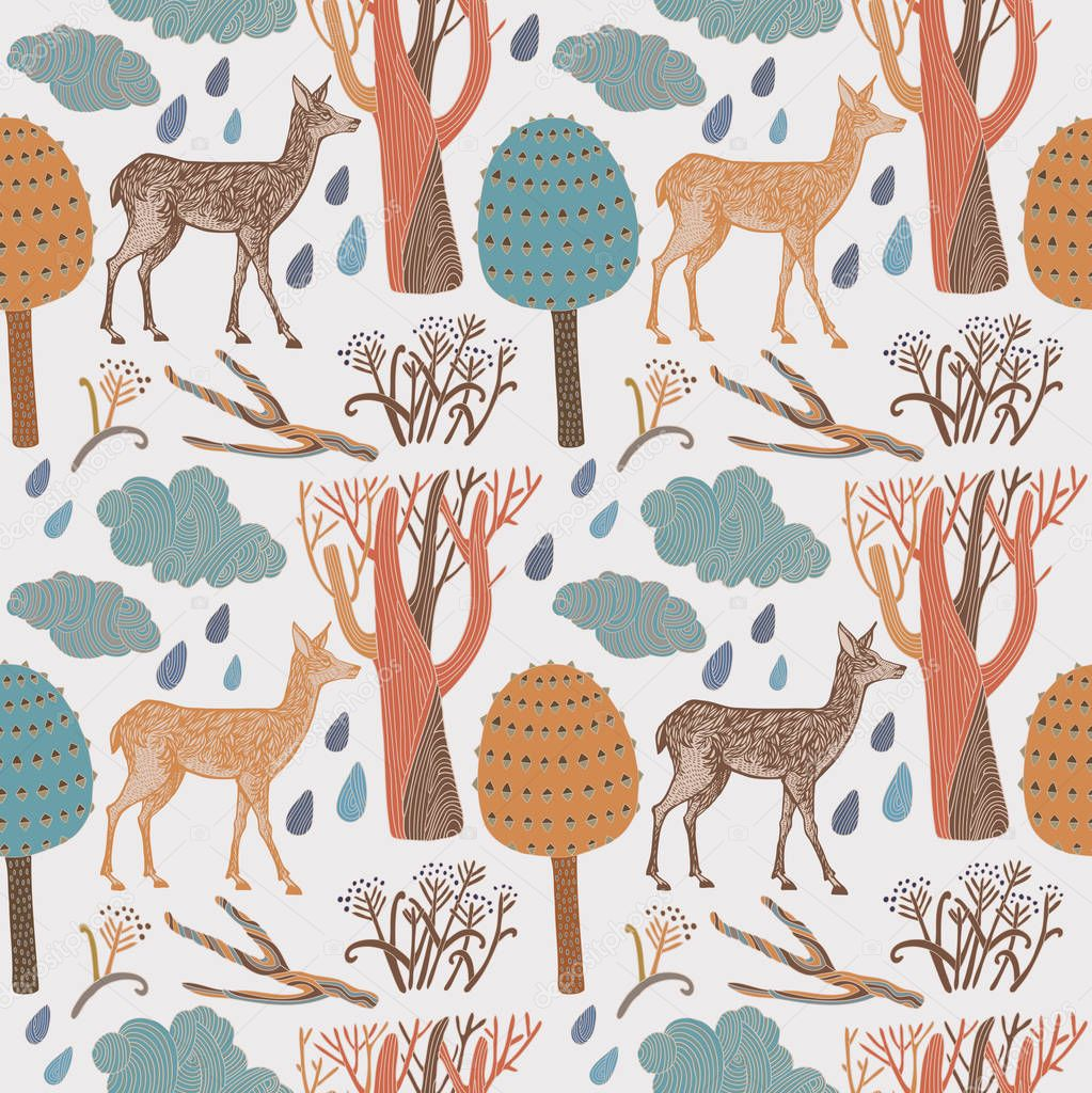 card with deers in wild forest. Vector.