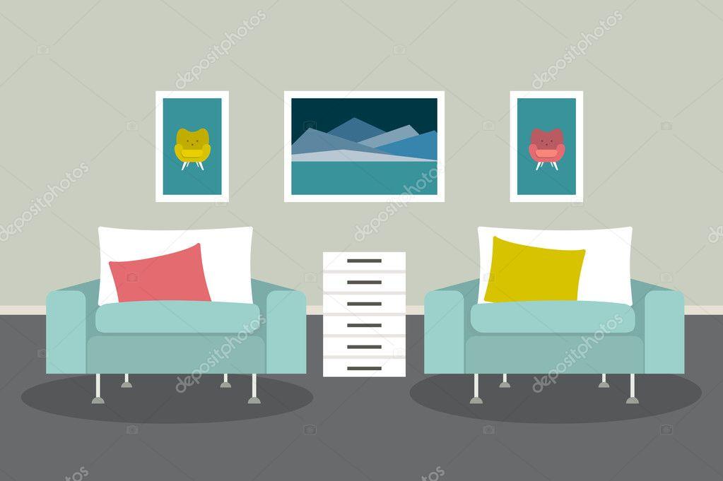 Woonkamer Met Kunst : Interieur van de woonkamer. mpdern minimalisme ontwerp. kunst