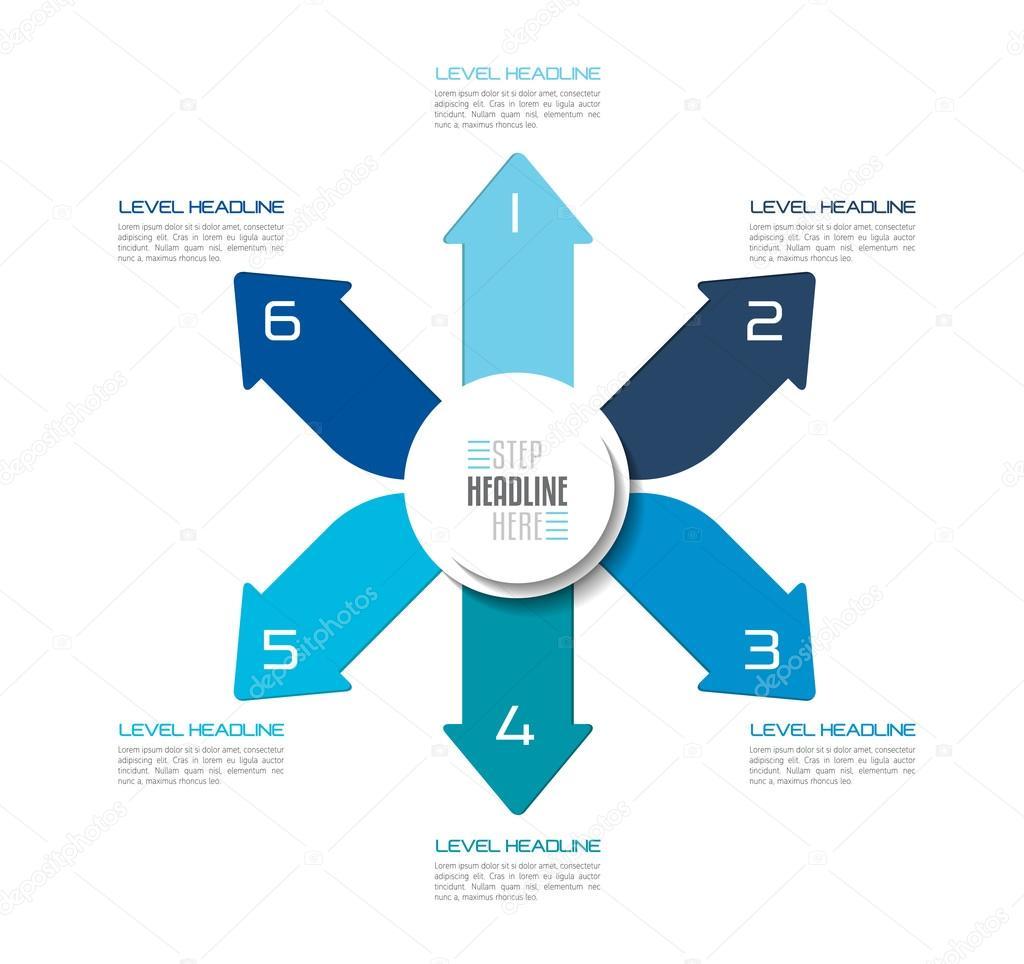 Seis direcciones azul flechas diagrama de diseño, plantilla, cuadro ...