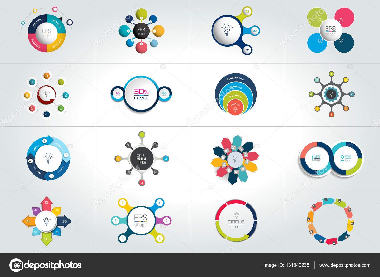 Mega-Set von Kreis, Runde Infografik Vorlagen, Diagramme, Graphen ...