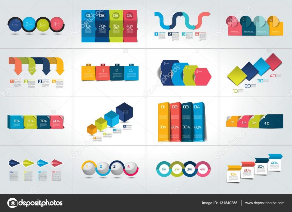 Mega-set 4 Schritte Infografik Vorlagen, Diagramme, Graphen ...