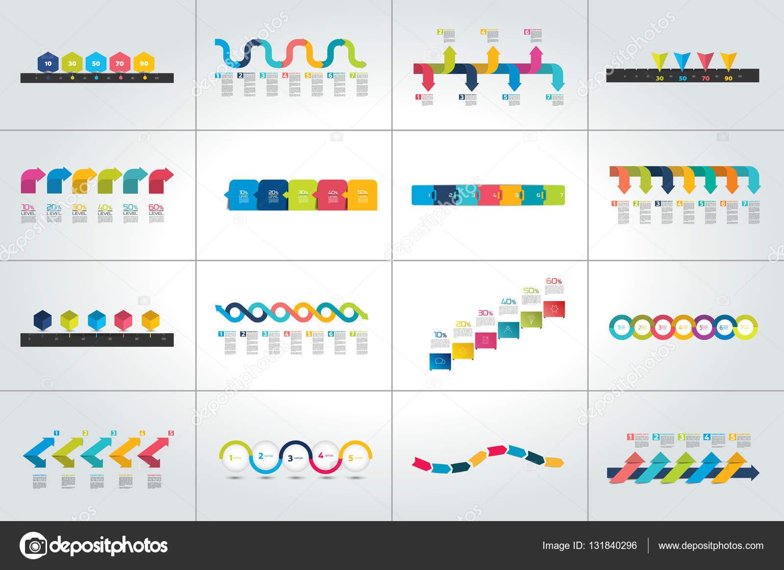 Mega-Set der Timeline Infografik Vorlagen, Diagramme, Präsentationen ...