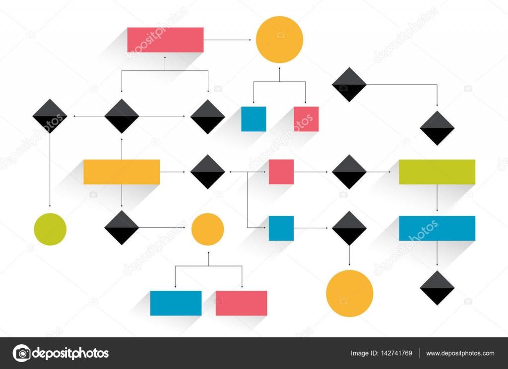 Groot stroomdiagram. Geometrische regeling. Presentatie infographics ...