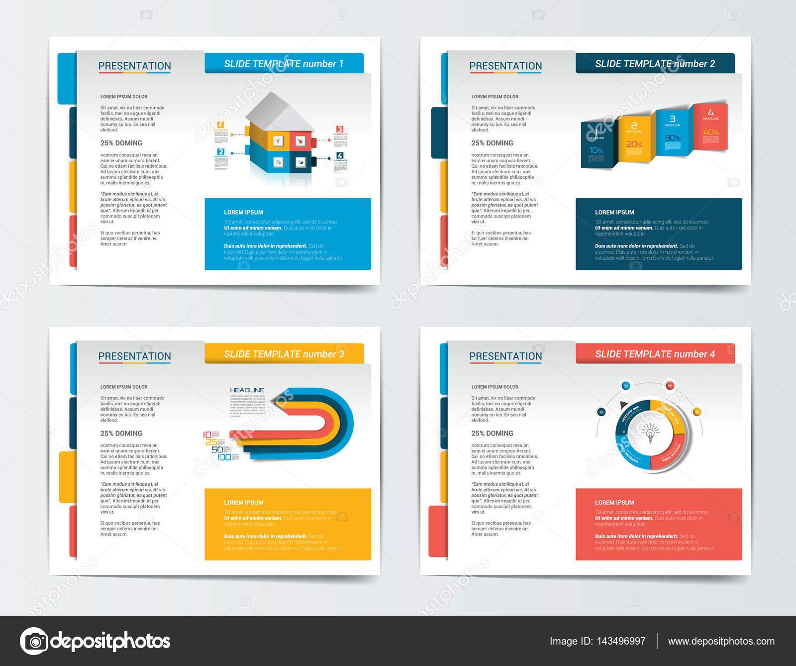 4 Geschäft Präsentationsvorlagen. Infografiken für Broschüre, Plakat ...