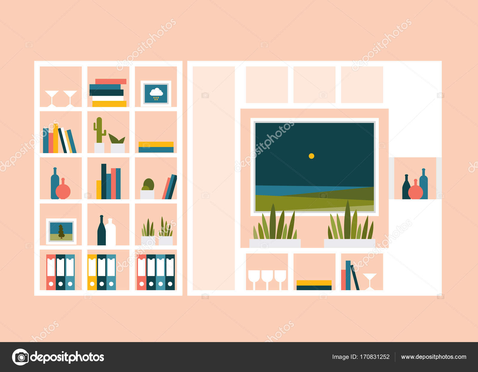 Living room with photo pictures and book shelves. Flat design vector ...