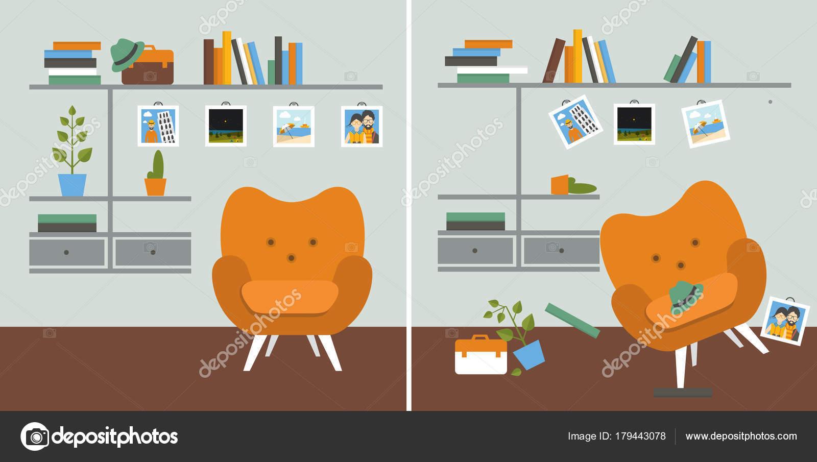 Ordentlich Und Unordentlich Zimmer Wohnzimmer Mit Sessel Und Buch ...