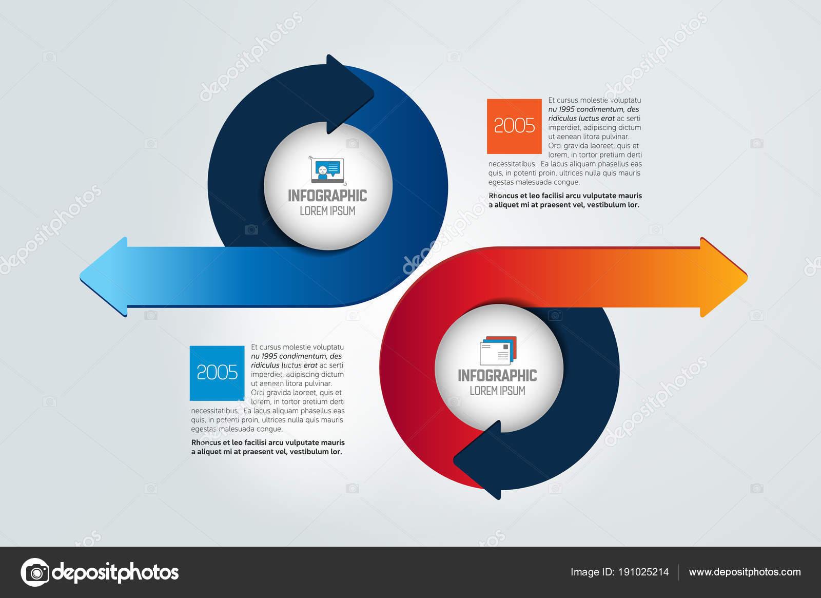 Zwei Kreise Pfeile Infografik Diagramm Diagramm Schema — Stockvektor ...