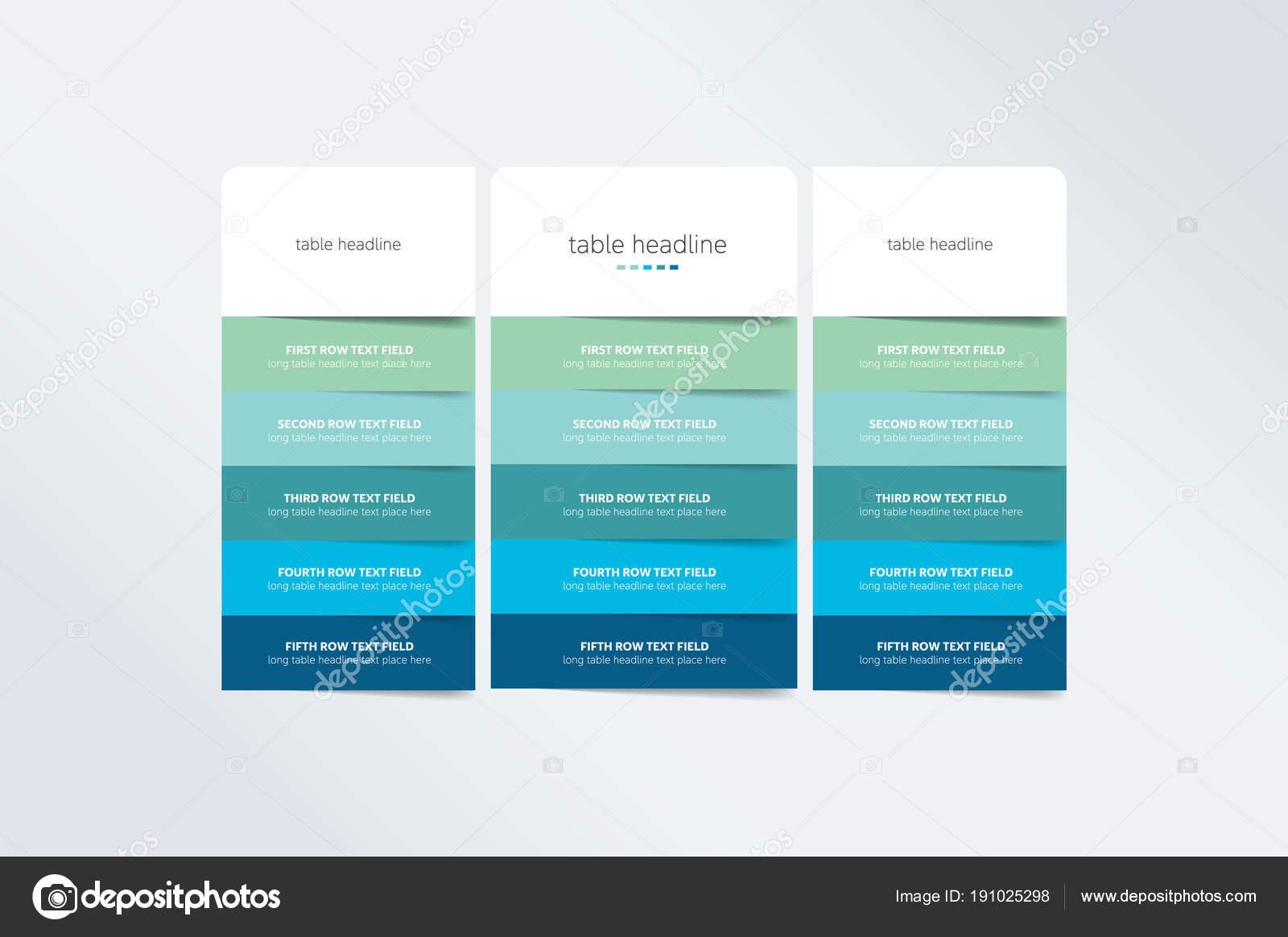 Plantilla Diseño Tabla Precios Para Negocio Vector — Archivo ...