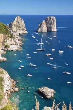 Gorgeous landscape of famous faraglioni rocks on Capri island, Italy