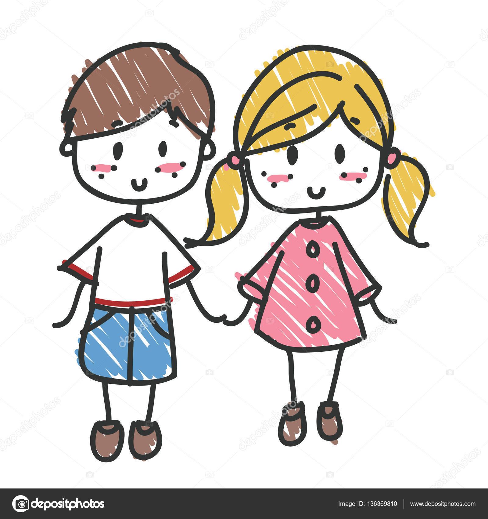Fille et gar on de l amiti image vectorielle snoopgraphics 136369810 - Dessin fille et garcon ...