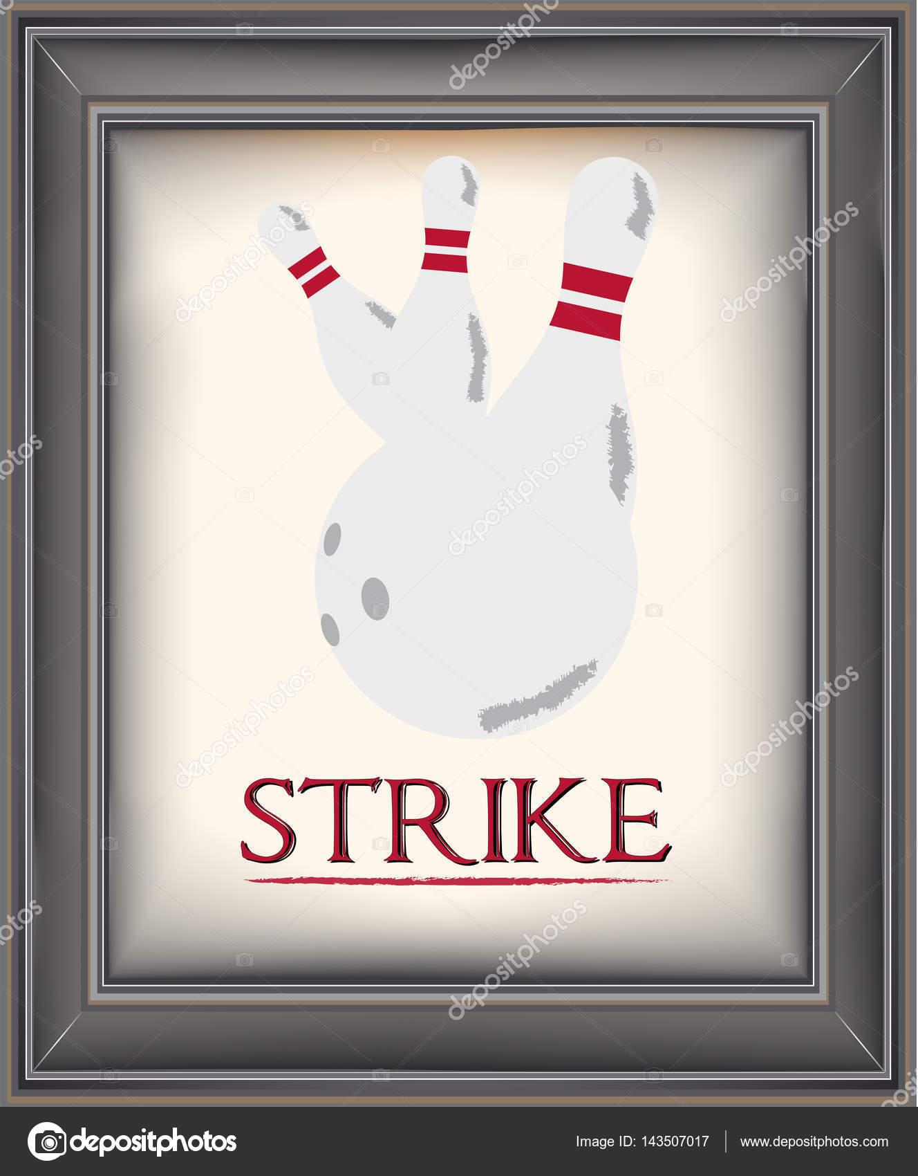 Gerahmte Poster retro bowling — Stockvektor © snoopgraphics #143507017