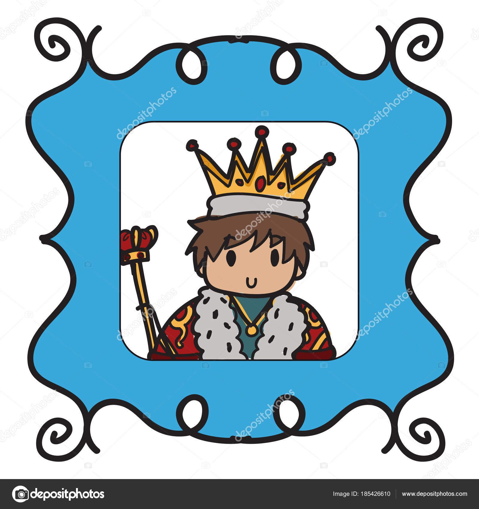 Imagen Rey Estilo Doodle Enmarcado Marco Fotos Azul — Vector de ...