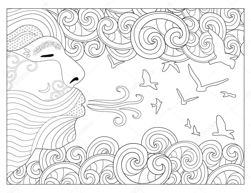 element coloring pages | lucht element kleurplaat — Stockfoto © smk0473 #128344956