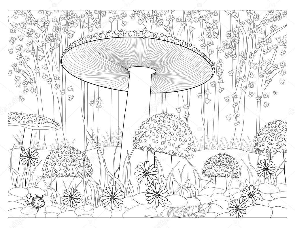 Magic Mushrooms - Fly Agaric Mushrooms Coloring Page