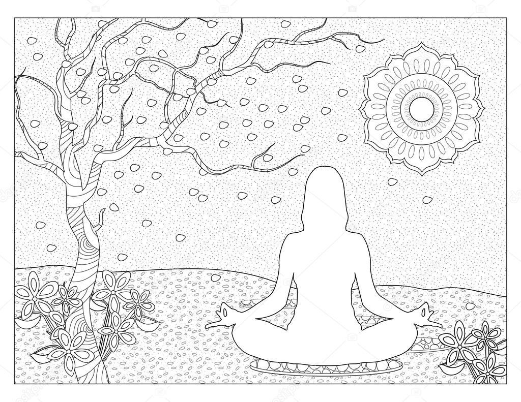 Meditation Coloring Page Stock Photo C Smk0473 128345006