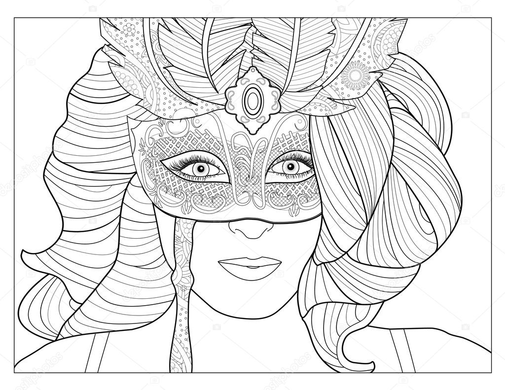 Masquerade Mask Coloring Page Stock Photo smk0473 128345186