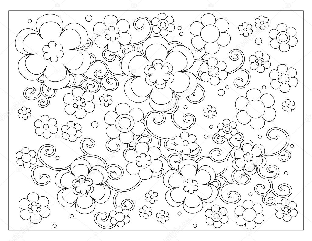 Pmages A Flower To Color Flower Pattern Coloring Page Stock